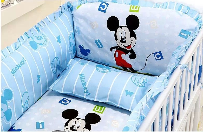 discount 5pcs mickey mouse boy baby cot crib bedding set 110 65 100 60cm bumper matress pillow. Black Bedroom Furniture Sets. Home Design Ideas