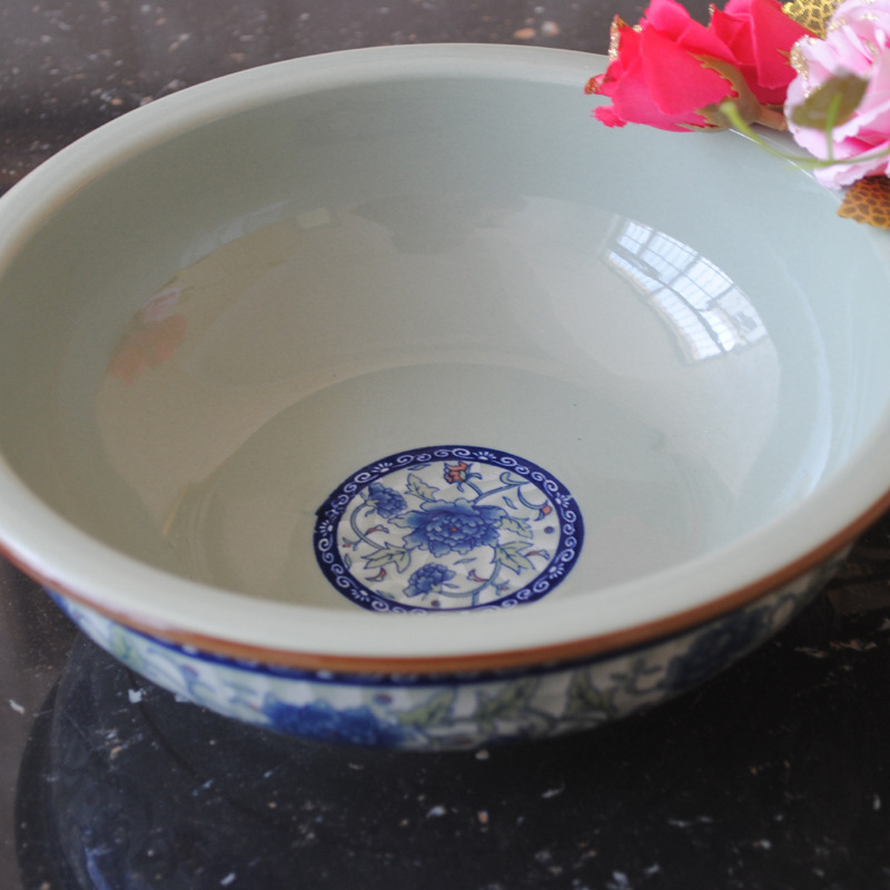 Supply antique ceramic soup bowl blue underglaze creative anti-hot big Chinese 18033 - GUCUN classical quality goods store