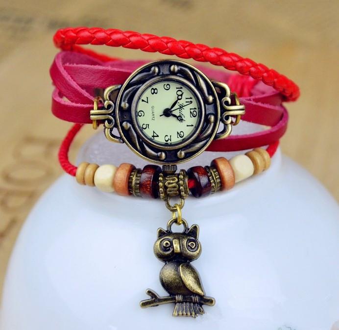 Womens Vintage Dress Watch Leather Strap Bronze Ladies Quartz Wristwatches Owl Pendant Item Hours Wooden Bead Bracelet Clock(China (Mainland))
