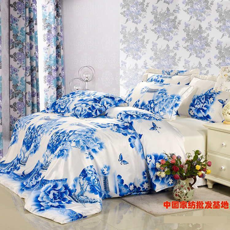 luxury blue and white porcelain bedding set floral silk queen king size s duvet cover bedsets. Black Bedroom Furniture Sets. Home Design Ideas