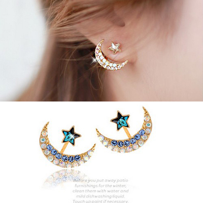 2015 new gold color blue crystal rhinestone star and moon earrings pentacle pendant stud earrings for women fashion Jewelry(China (Mainland))