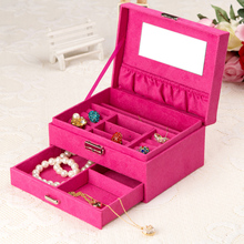 1pc 20*15*10cm The fabric drawer organizer with metal lock very strong jewelry box/boxes for your bracelet necklace(China (Mainland))