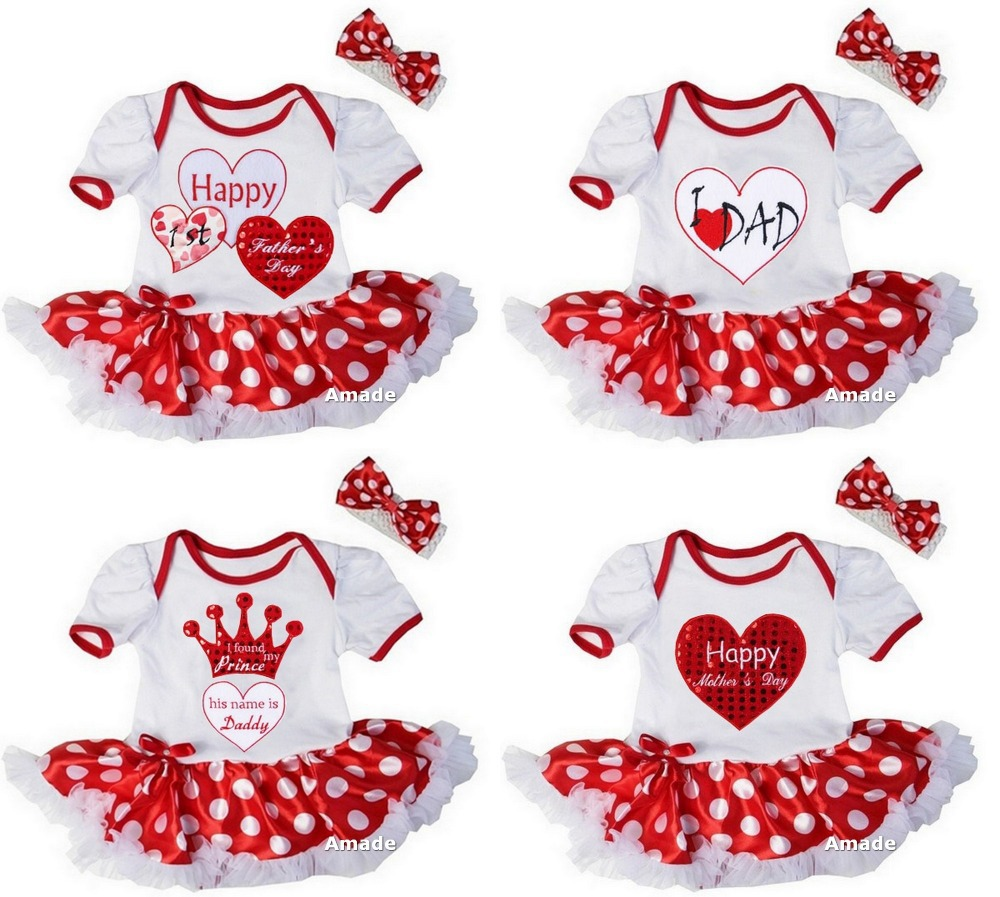 Father's Day Party Dress Baby Girl Heart Red Polka Dots Bodysuit Tutu and Headband 2 pcs Set 0-18M(Hong Kong)