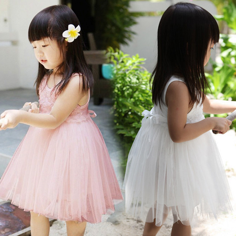 2016 Flower Girls Lace clothes High Quality formal mesh kids party Dress New Summer Rose cotton Sleeveless Princess Tutu dresses(China (Mainland))