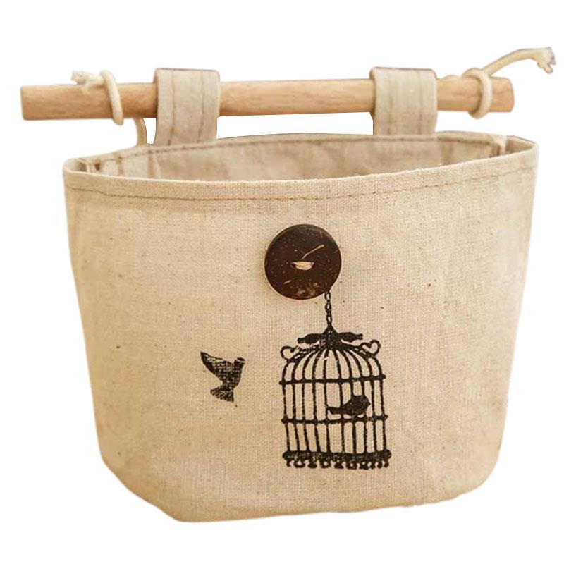 Free Shipping Home Supplies Hanging Receive Bag Vintage Birdcage Pattern Wardrobe Wall Hanging Cotton Storage Bag Hot Sale(China (Mainland))