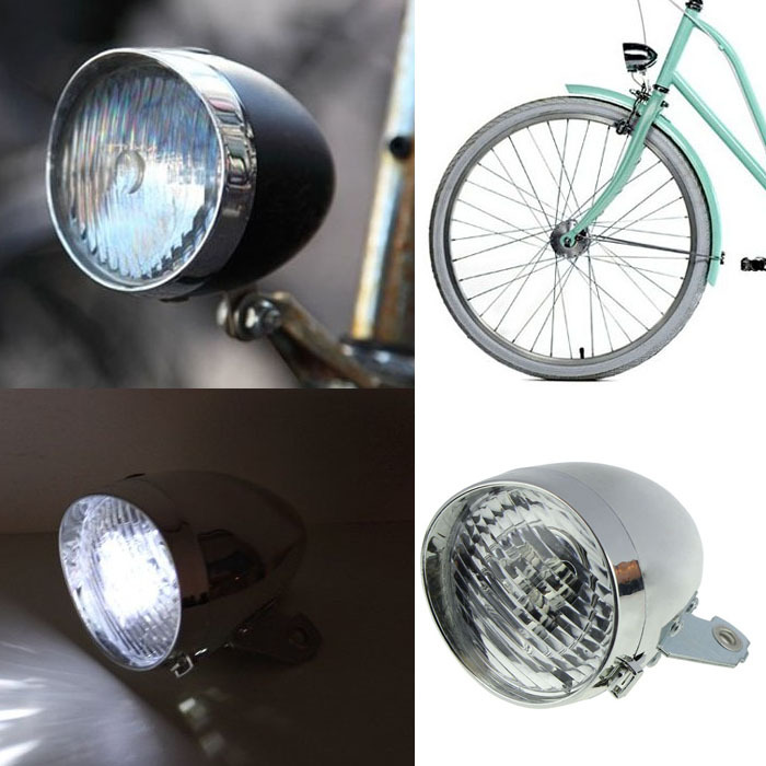 2015 New Arrival Bicycle Accessory Vintage 3LED Bike Headlight Front LED Light DIY Designer Night Ride Safely Free Shipping(China (Mainland))