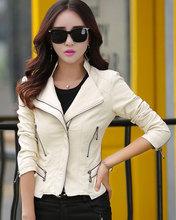 2016 Women Pu Leather Coat Ladies Synthetic Leather Jacket Motorcyle Biker New Slim Full Sleeve High Quality Zipper Faux Jackets(China (Mainland))
