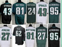 27 Malcolm Jenkins Jersey Wholesale Black Green White Elite Stitched  Darren Sproles Jerseys Big size up Small Med Large 4XL 60(China (Mainland))