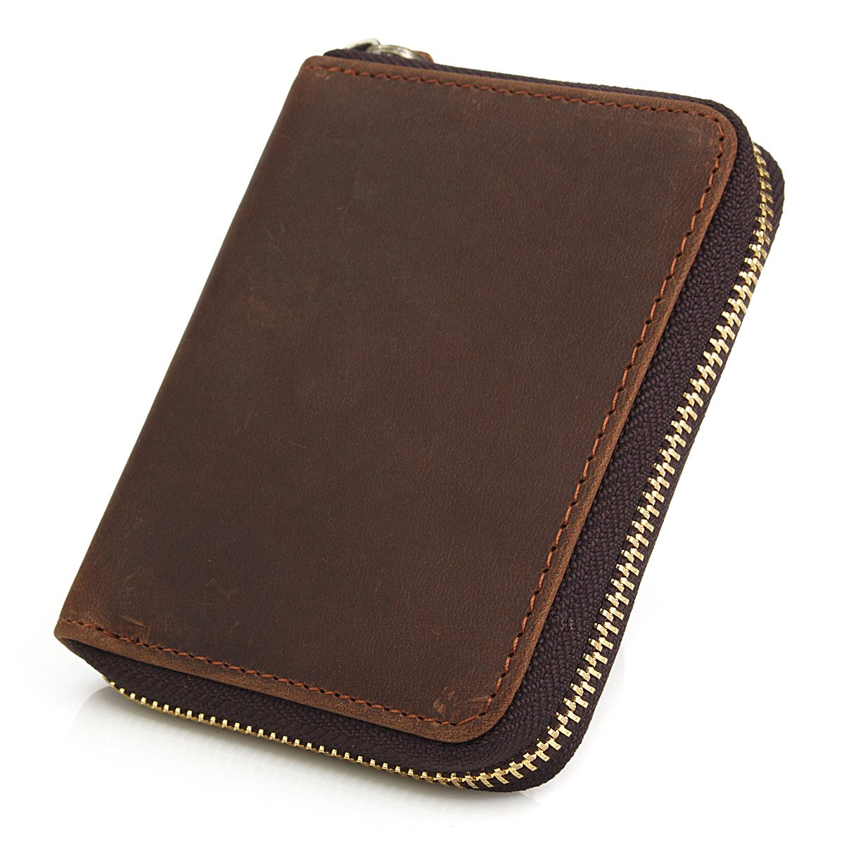 100% Genuine Leather Men Wallets Short Coin Purses Nubuck Small Zipper Notecase Brown ID Credit Card Holders New Male Carteira(China (Mainland))
