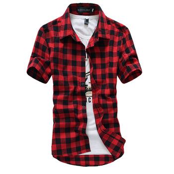 Красный и черный клетчатую рубашку сорочки для мужчин 2015 новый летний стиль мода сорочка Homme мужские рубашки с коротким рукавом мужчины дешевые