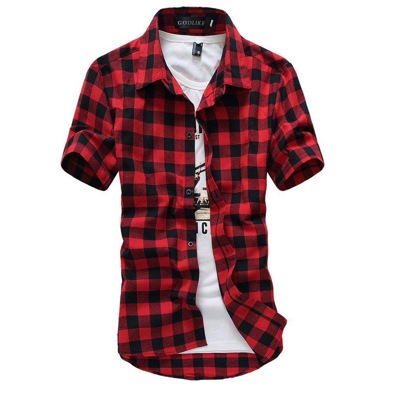 Red and black plaid shirt men shirts 2015 new summer style for Red plaid dress shirt