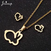 Jisensp זהב נירוסטה תכשיטי סטים לנשים ציפור תליון בעלי החיים ארנב פרפר שרשרת Stud עגילי Collares Mujer(China)