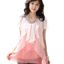 Women chiffon blouse short sleeve plus size women clothes XXXXL big size clothing 4XL womens top ruffled shirt WD157(China (Mainland))