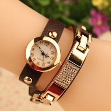Top Fashion Watches Women Gold Alloy Case Ladies Watch Crystal Leather Quartz Watch Relogio Feminino Clock