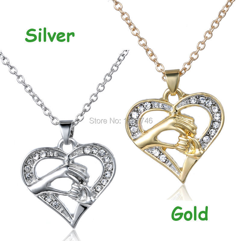 2015 Mother's Day gift 3pcs/lot Original crystal rhinestone Heart necklace Silver or Gold Hand in Hand Heart Mother Necklace(China (Mainland))
