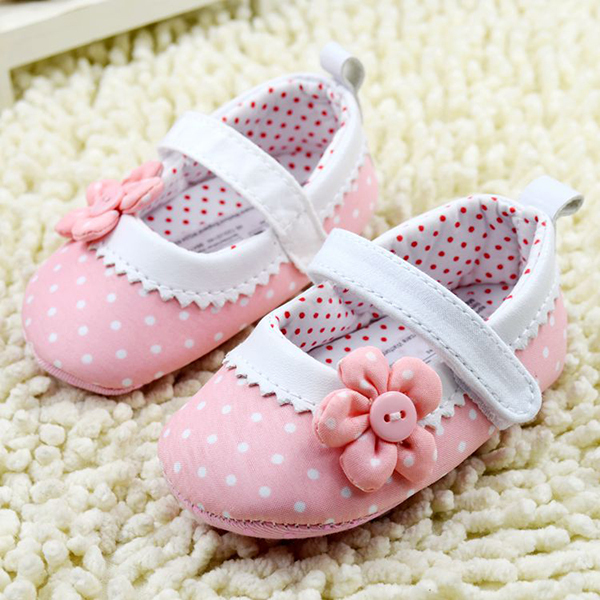 Princess Pink Flower First Walkers Dot Baby Shoes Soft Sole Toddler Crib Shoes(China (Mainland))