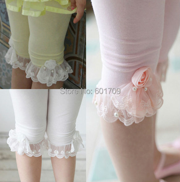 Free shipping 5pcs/Lot New Summer Solid Cotton Pearls Lace Ruffles Girls Leggings with Flower Children Summer Capris<br><br>Aliexpress