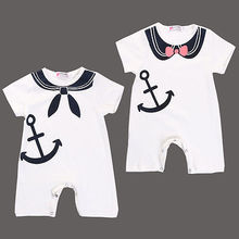 2016 New Newborn Baby Boy Girl Romers Anchor Sailor Bodysuit Playsuit Outfits Clothes