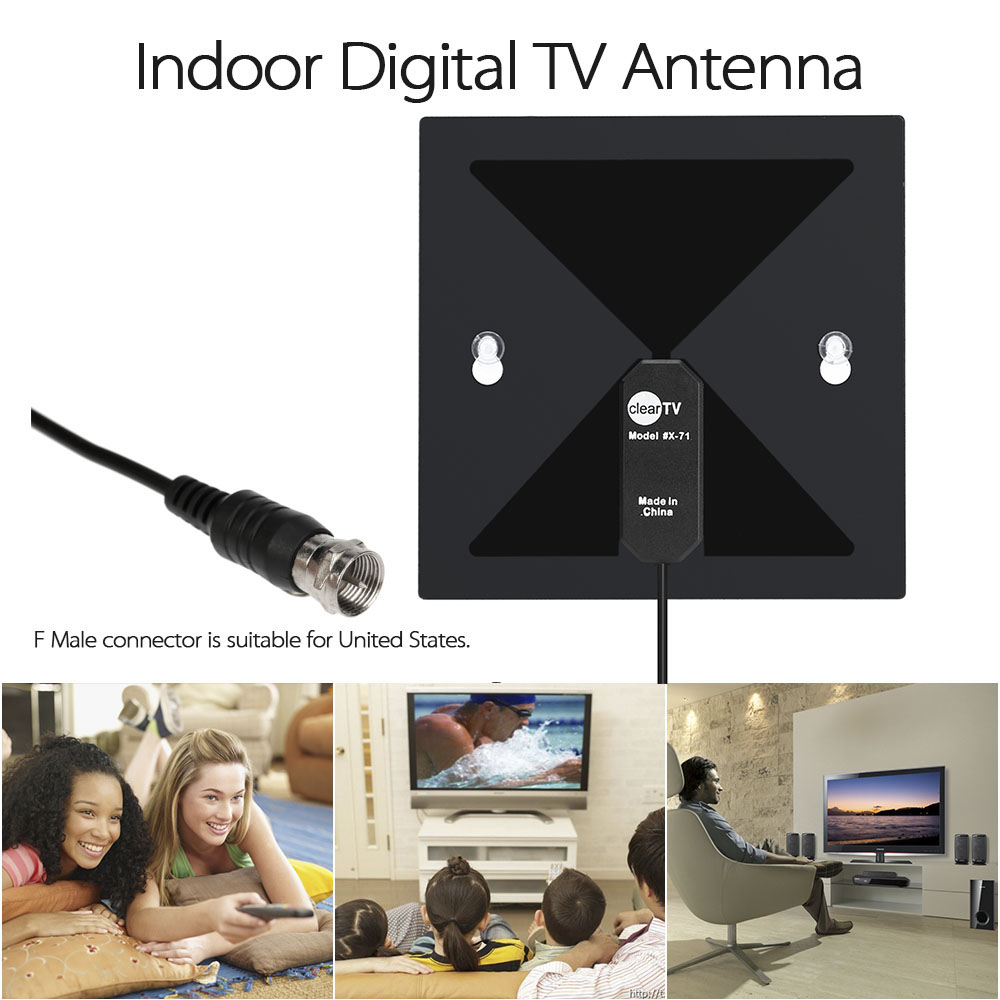 X-71 Indoor Digital TV Antenna High Definition TV Antenna Home with Sucker F Male Connector for HDTV/DTV for United States(China (Mainland))