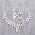 Shining Woman Rhinestone Pearls Jewelry Sets Pendant Necklace Pin Earrings Bride Fashion Wedding Dress Dangle Accessories