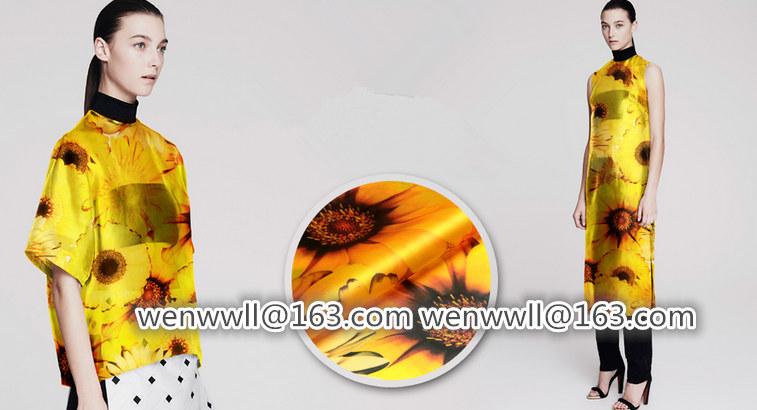 designer 100% pure natural mulberry silk Organza satin fabric 1meter orange and yellow O046(China (Mainland))