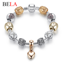 2016 Luxury New Gold Charm Bracelets For Women Crystal DIY Beads Bracelets & Bangles Pulsera Gift Fashion Jewelry(China (Mainland))