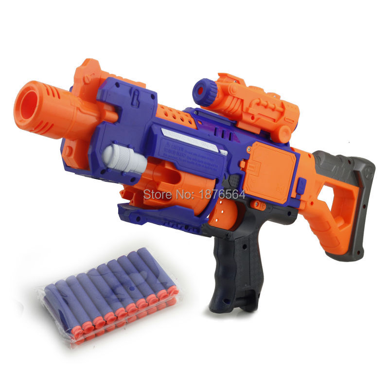 nerf toy gun The electric soft bullet gun one time can shot double bullet With 10PCS soft bullet & 10PCS suction cup bullet(China (Mainland))