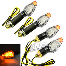 Buy 4 PCS Universal Motorcycle Carbon Fiber Housing yellow Lens 14 LED Turn Signals LED Lights Indicators Flashers Kawasaki for $11.99 in AliExpress store