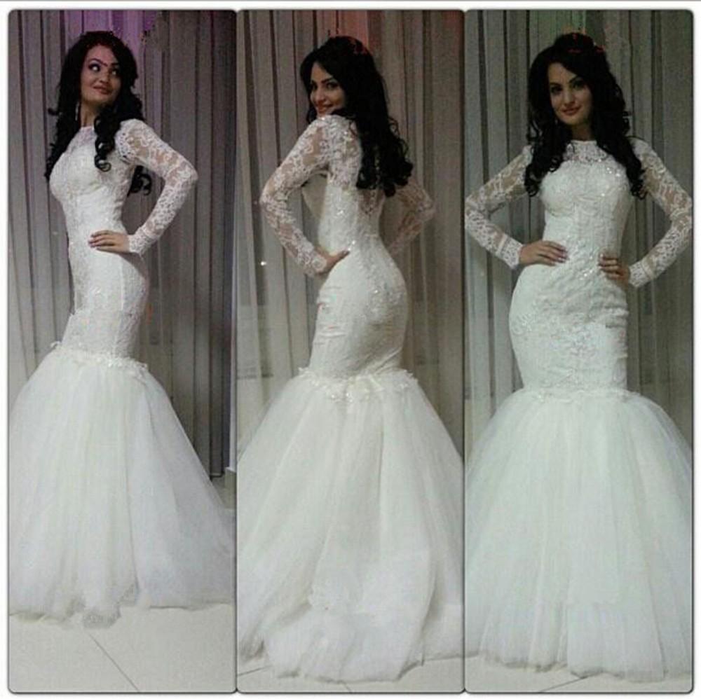 Wedding Dresses Mermaid Style: Actual-Wedding-Dresses-Mermaid-Long-Sleeves-Lace-Tulle