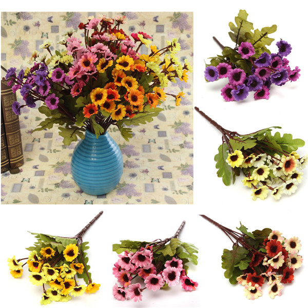 New Artificial Sunflowers Silk Daisy Bouquet Flowers Colorful Home Decor Wedding Bridal DIY 1 Bunch 7 Heads(China (Mainland))