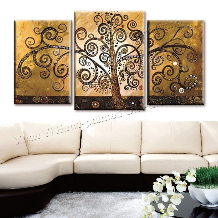 piece canvas wall art hand painted canvas abstract oil painting tree