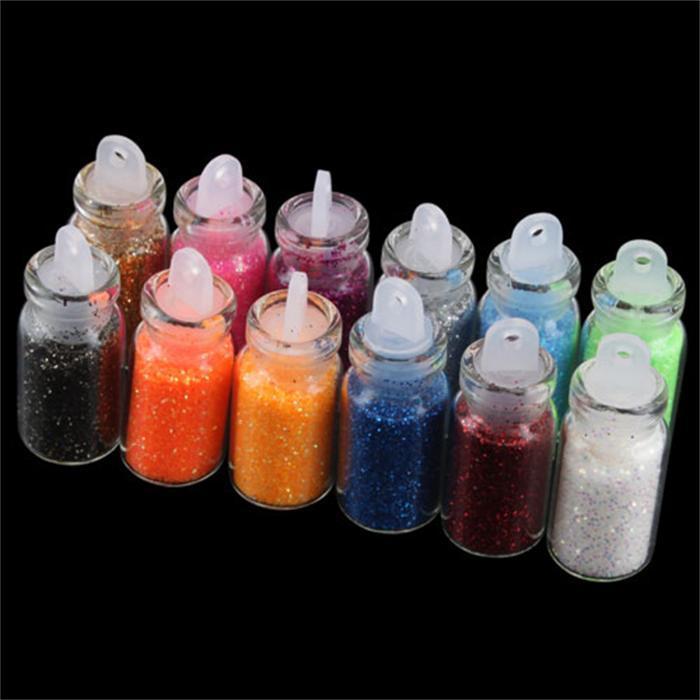1Set, 12 Color Glitter Decor Nail Art Powder Dust Bottle Set #5696(China (Mainland))