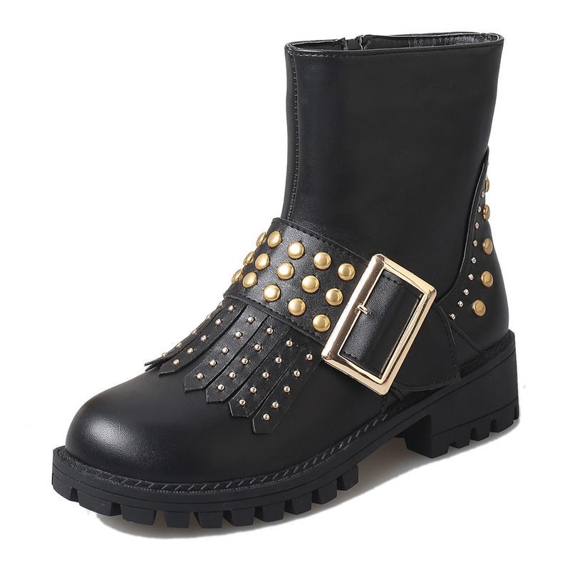 2017 New Women's Fashion Rivet Studded Boots With Tassel Low Heels Buckle Punk Motocycle Women Riding Ankle Boots Shoes(China (Mainland))