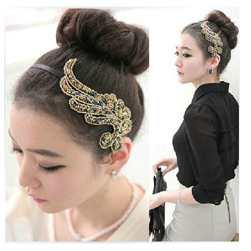 New Women Fashion Trendy Bling Angel Wing Headband Hair Band-Y107(China (Mainland))