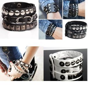 Wholesale - 4pcs Cool Punk Rock White Black Rivet Multi Layers Circles Stud Chain Leather Cuff Bracelet 260963 260964