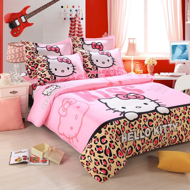 home textiles bedclothes leopard hello kitty cartoon. Black Bedroom Furniture Sets. Home Design Ideas