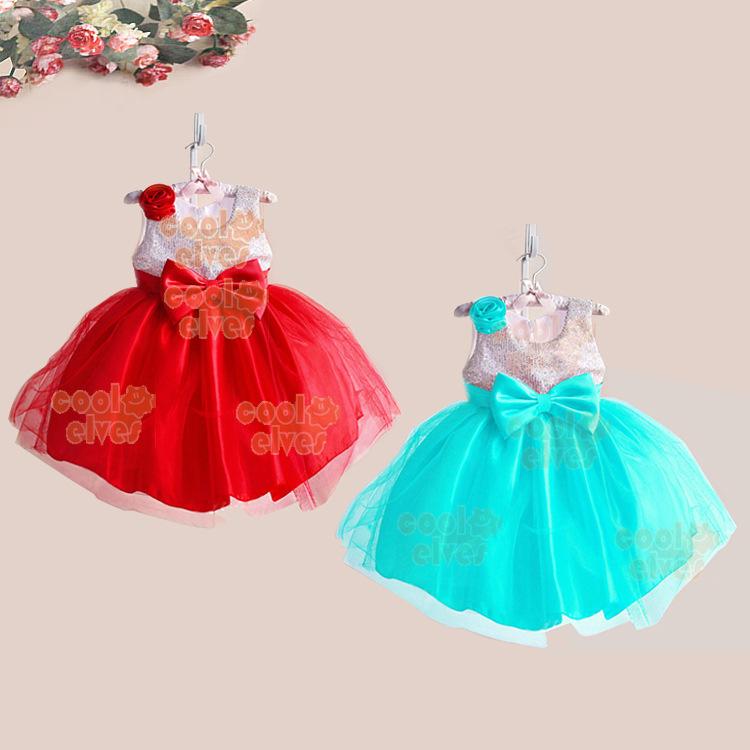 2015 New Tank Flower Girls Dress Sequin Children Party Princess Dresses Bowknot Fashion Kids Performance Dress Sleeveless(China (Mainland))