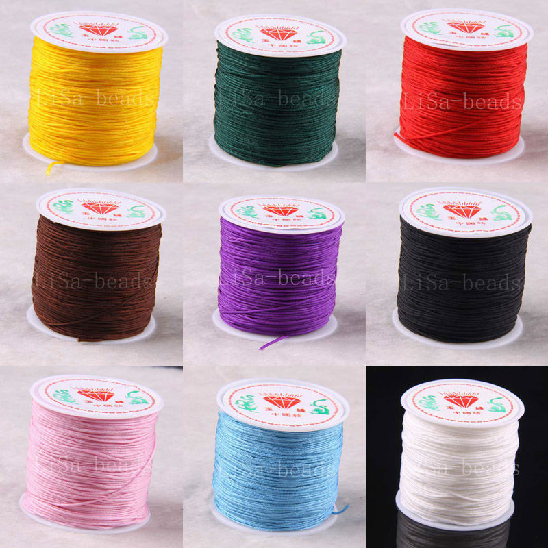 Free Shipping 1MM Nylon Blue Pink Black White Purple Red Brown Green Gold Beading Cord 100M 1Pcs N031-N039(China (Mainland))