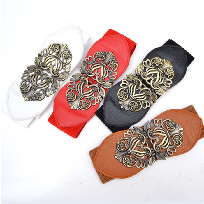 2014 New Fashion Accessories Alloy flower leather belt Brand women vintage Girdle belts for women cheap