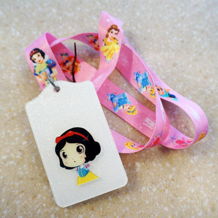2016 New Printed Snow White Cartoon Neck Lanyard Strap With Cute ID Card Badge Holder 1pcs(China (Mainland))