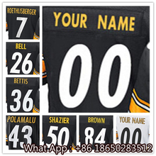 Men's #7 Ben #26 Le'Veon #36 Jerome #43 Troy #50 Ryan #84 Antonio Black White Yellow Football Jersey 100% Stitched Customized(China (Mainland))