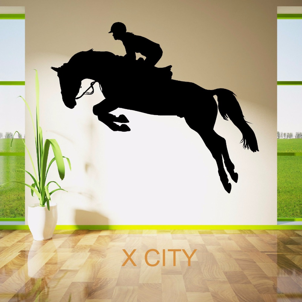 horse jumping show rider jockey sport silhouette wall