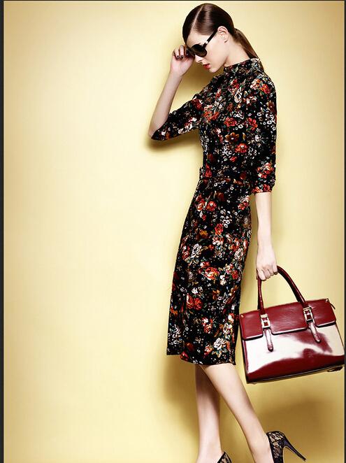 2014 Fashion Vintage Elegant Printing Dress Star Temperament Long Dress(China (Mainland))