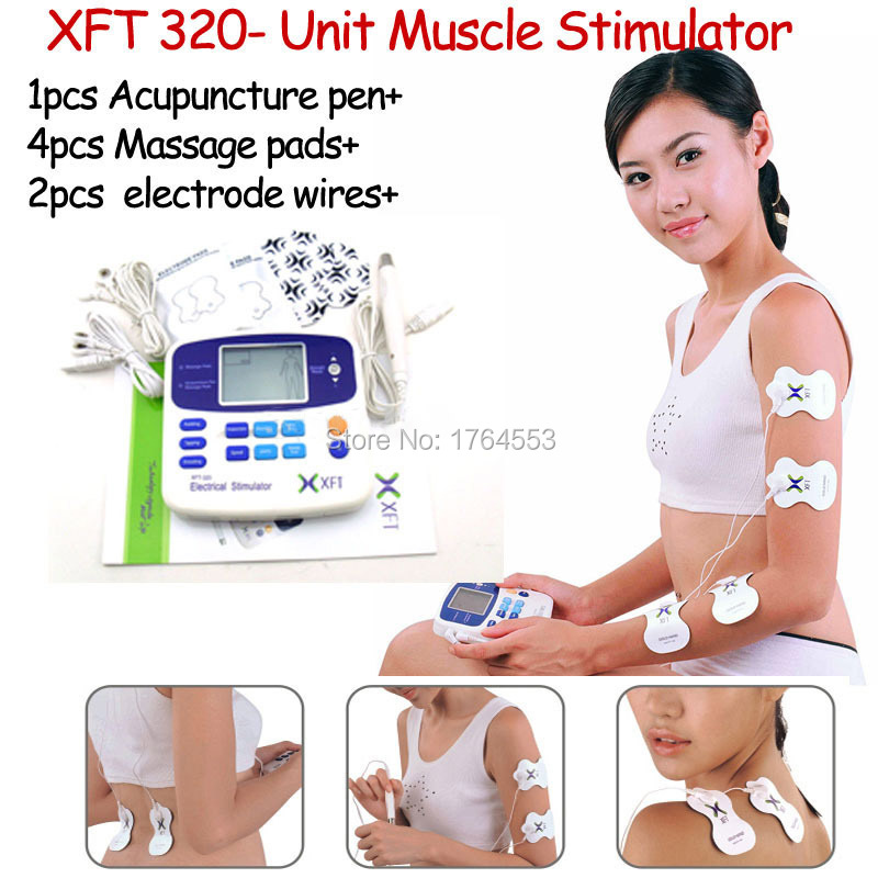 Dual Tens Machine Digital Massage XFT-320A +4 Pads+ Acupuncture Pen Low Frequency Therapeutic Stimulator Body Slimming Massager(China (Mainland))