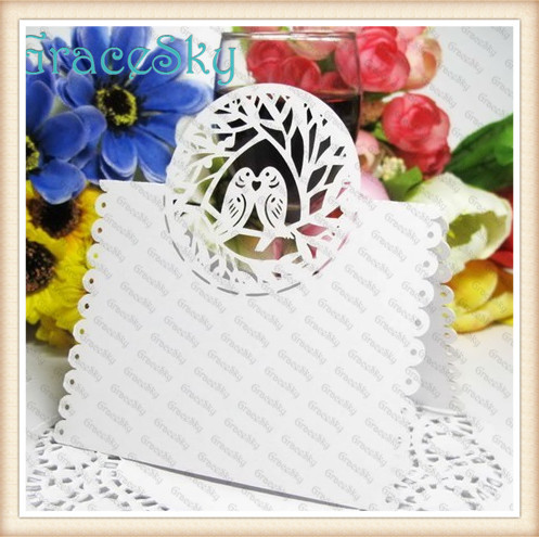 Laser Cut Love Bird Shaped Wedding Invitation Decorations Table Cards, Latest Place Seat Cards Valentine Party Decor Supplies(China (Mainland))