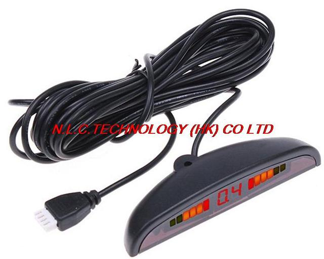free shipping + wholesale Car LED Parking Reverse Backup Radar System with Backlight Display+4 Sensors