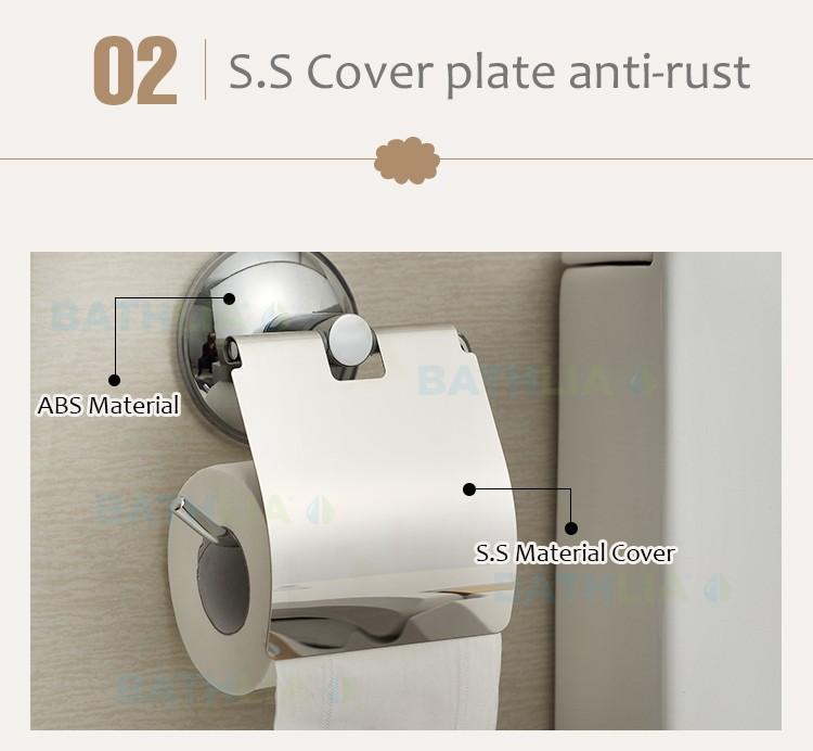Stainless Steel Toilet paper Holder Heavy Duty  Suction Wall Mount Toilet Tissue Paper Holder Bathroom Paper Roll Holder