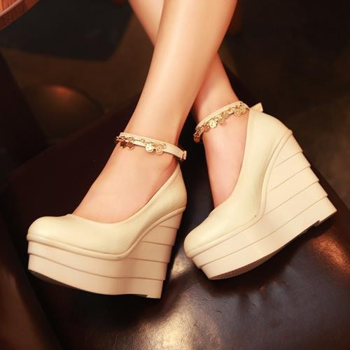 Fashion Women's pumps Wedges Shoes High Heels Platform round Toe Ankle Straps wedge ladies wedding shoes woman
