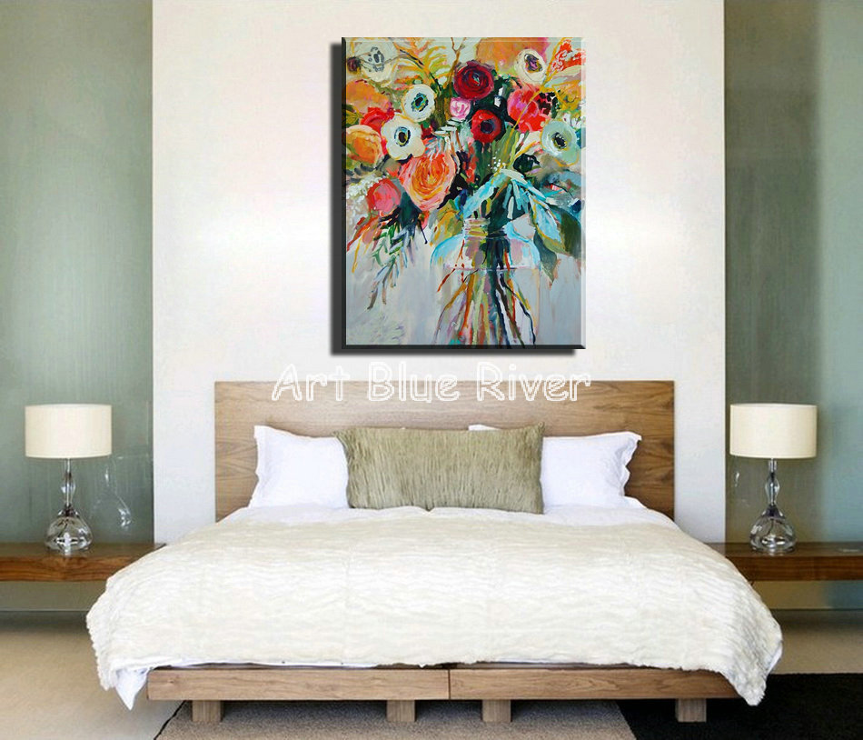 large canvas wall art Modern abstract watercolor decorative floral vintage oil painting on canvas for living room decoration(China (Mainland))