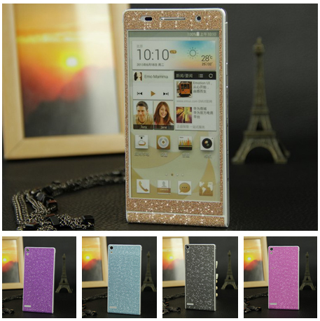 Diamond shining color change skin cover Huawei Ascend P6 screen protector cell mobile phone sticker film - Decor Union Store store